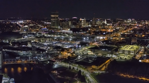 DXP002_205_0001 - Aerial stock photo of The city skyline at night, Downtown Buffalo, New York