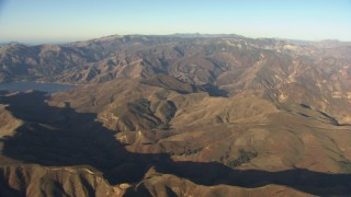 AF0001_000025 - Aerial stock footage of Flying by mountain ridges near Quail Lake, Transverse Ranges, California