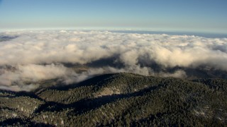 AF0001_000062 - Aerial stock footage of Approach the edge of a layer of clouds rolling toward wooded mountains, Transverse Ranges, California