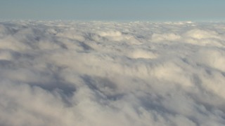 AF0001_000072 - Aerial stock footage of Flyby an expanse of low, thick clouds, Central Valley, California