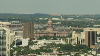 AF0001_000105 - Aerial stock footage of A view of the Texas State Capitol building in Downtown Austin, Texas