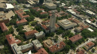 AF0001_000112 - HD stock footage aerial video tilt to bird's eye of Garrison Hall and Main Building at the University of Texas at Austin, Texas
