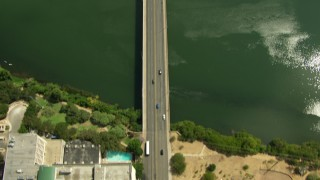 AF0001_000115 - HD stock footage aerial video of bird's eye view of North Congress Avenue, reveal Congress Street Bridge in Downtown Austin, Texas