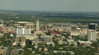 AF0001_000119 - Aerial stock footage of Flying by the University of Texas campus in Austin, Texas