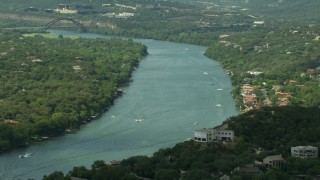 AF0001_000120 - HD stock footage aerial video approach Lake Austin with boats in Austin, Texas