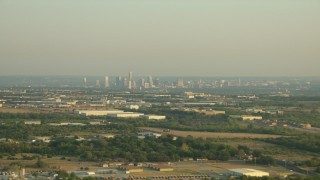 AF0001_000124 - HD stock footage aerial video of the distant skyline of Downtown Austin, Texas