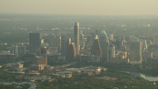 AF0001_000130 - HD stock footage aerial video of a view of Downtown Austin skyscrapers, Texas