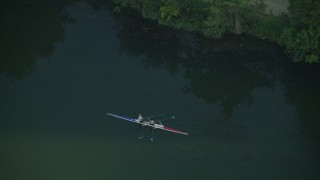 AF0001_000134 - HD stock footage aerial video of tracking kayakers on Lady Bird Lake, Austin, Texas