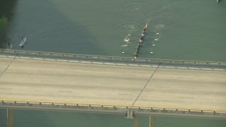 AF0001_000137 - HD stock footage aerial video of flying away from kayakers and the Mopac Expressway Bridge, Austin, Texas