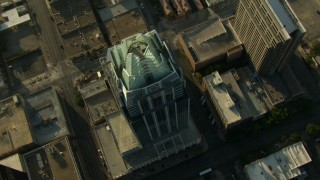 AF0001_000142 - Aerial stock footage of Approach and track Frost Bank Tower in Downtown Austin, Texas