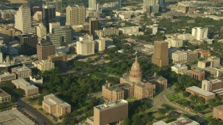 AF0001_000143 - HD stock footage aerial video of Texas State Capitol in Downtown Austin, Texas