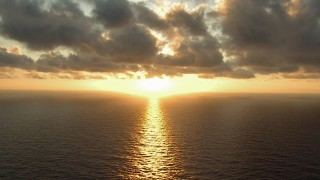 AF0001_000161 - HD stock footage aerial video of a view of the sunrise over Galveston Bay, Texas