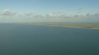 AF0001_000171 - HD stock footage aerial video of a view of the Matagorda Peninsula, Texas while flying over the Gulf of Mexico
