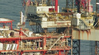 AF0001_000181 - HD stock footage aerial video of a close up view of an oil rig in the Gulf of Mexico