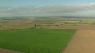 AF0001_000211 - HD stock footage aerial video flyby farm fields around a country road in Matagorda County, Texas