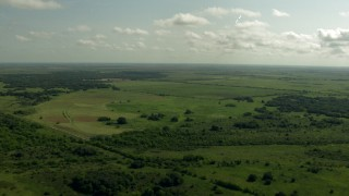 AF0001_000223 - HD stock footage aerial video of flying over farmland and a country road, Danevang, Texas