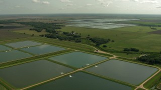 AF0001_000227 - HD stock footage aerial video of flying over fish farms and the green fields between them in Danevang, Texas