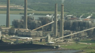 AF0001_000241 - HD stock footage aerial video flyby smoke stacks and plant structures at WA Parish Generating Station by Smithers Lake, Texas