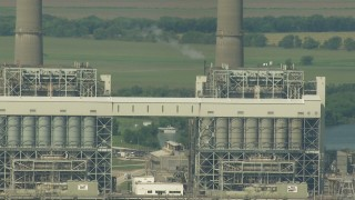 AF0001_000246 - HD stock footage aerial video flyby structures at the power plant by Smithers Lake, Texas
