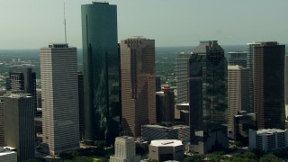 AF0001_000264 - HD stock footage aerial video flyby city high-rises in Downtown Houston, Texas