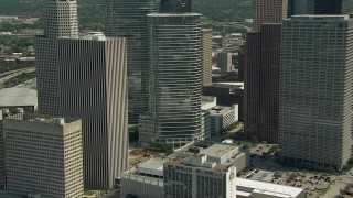 AF0001_000272 - HD stock footage aerial video of flying around Downtown Houston buildings and skyscrapers, Texas