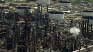 AF0001_000281 - Aerial stock footage of Flyby an oil refinery in Harrisburg, Manchester, Texas