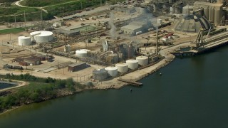 AF0001_000292 - HD stock footage aerial video of a riverside oil refinery in Pasadena, Texas