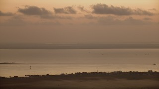 AF0001_000321 - HD stock footage aerial video of boats in Lavaca Bay at sunrise, Texas