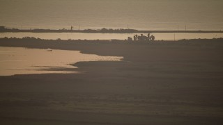 AF0001_000326 - Aerial stock footage of Marshland on the shore of Matagorda Bay, Texas, sunrise