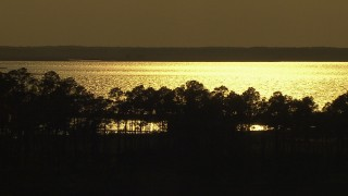 AF0001_000427 - HD stock footage aerial video of trees lining a shoreline and a bay reflecting sunlight, Gulf Coast, Alabama, sunset