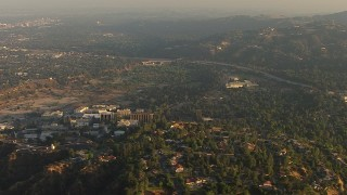 AF0001_000510 - HD stock footage aerial video of the NASA Jet Propulsion Laboratory in Pasadena, California, sunset