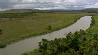 AF0001_000527 - HD stock footage aerial video fly over palm trees and savanna beside a river, Southern Venezuela