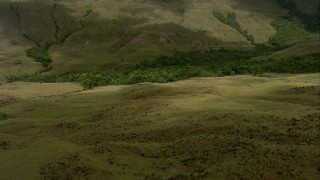 AF0001_000538 - HD stock footage aerial video fly over hilly savanna to approach jungle at the base of a mountain in Southern Venezuela