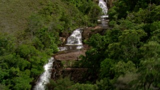 AF0001_000546 - Aerial stock footage of Approach a mountain waterfall surrounded by jungle in Southern Venezuela