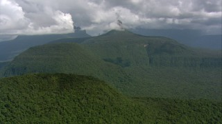 AF0001_000575 - Aerial stock footage of Flyby jungle-covered peaks and ridges in Southern Venezuela