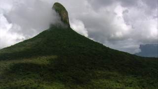 AF0001_000578 - HD stock footage aerial video tilt from a bird's eye view of jungle to reveal a peak in Southern Venezuela