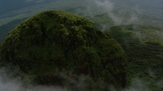 AF0001_000581 - HD stock footage aerial video orbit the jungle-covered summit of a peak in Southern Venezuela