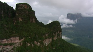 AF0001_000588 - Aerial stock footage of Rugged mountains and lush jungle in Southern Venezuela