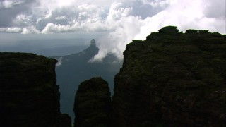 AF0001_000593 - Aerial stock footage of Flyby the rugged top of a Guiana Highlands peak in Southern Venezuela