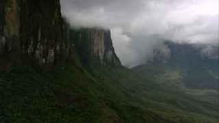 AF0001_000606 - Aerial stock footage of Tilt from a bird's eye of jungle and pan to reveal steep mountain cliffs in Southern Venezuela