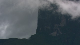 AF0001_000614 - HD stock footage aerial video zoom to a closer view of cliffs and jungle in Southern Venezuela