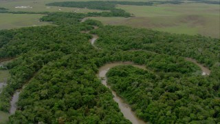 AF0001_000660 - HD stock footage aerial video fly over a river winding through jungle in Southern Venezuela