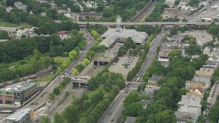 AF0001_000707 - HD stock footage aerial video of approaching the Forest Hills Station, Jamaica Plain, Massachusetts