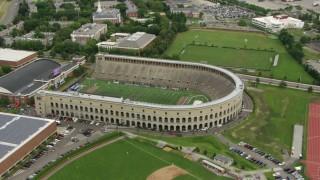 AF0001_000715 - HD stock footage aerial video of Harvard Stadium at Harvard University, Boston, Massachusetts