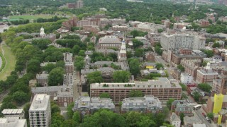AF0001_000726 - HD stock footage aerial video of the Eliot, Lowell and Adams Houses and Harvard University campus buildings, Cambridge, Massachusetts