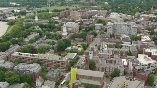 AF0001_000727 - HD stock footage aerial video of Harvard University campus buildings and dormitories in Cambridge, Massachusetts