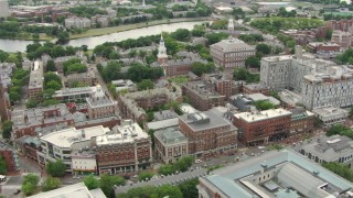 AF0001_000728 - HD stock footage aerial video of Harvard University campus buildings, reveal Harvard Square in Cambridge, Massachusetts