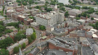AF0001_000729 - HD stock footage aerial video of orbiting Harvard University campus and Harvard Square in Cambridge, Massachusetts