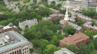 AF0001_000730 - HD stock footage aerial video of Memorial Church and Harvard Yard at Harvard University in Cambridge, Massachusetts