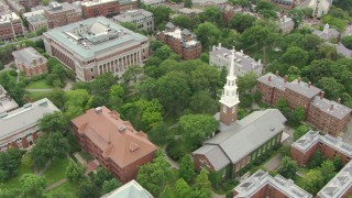 AF0001_000731 - Aerial stock footage of Memorial Church, Widener and Grossman Libraries, and Thayer Hall at Harvard University, Cambridge, Massachusetts